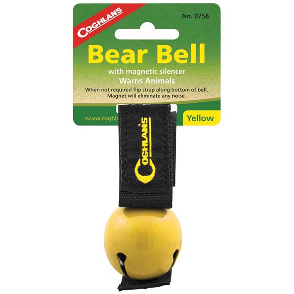 6-Pack Coghlan/'s Bear Bell Yellow w//Magnetic Silencer Warns Animals Hiking