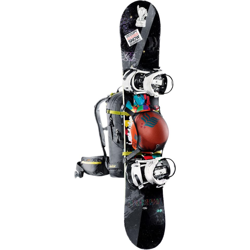 Snowboard and helmet not included